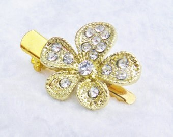 Gold Crystal Rose Flower Hair Clip Barette,  'My Teeny Tiny Hair Clips'