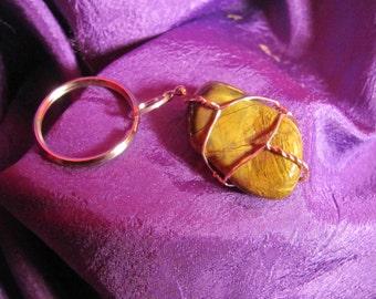 Tiger Eye Healing Stone Keychain