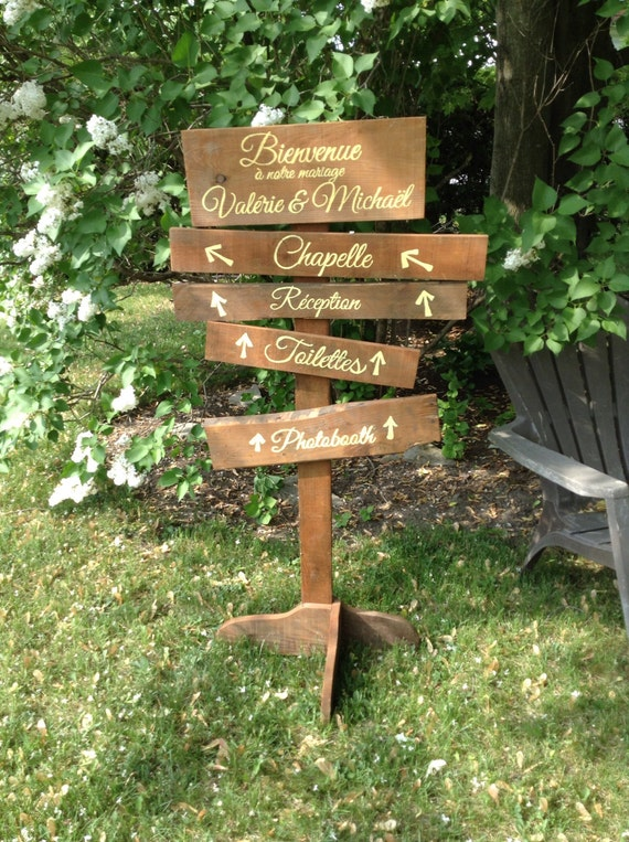 Souvent Fleche Panneau de bois de palette direction pour mariage ou AK13