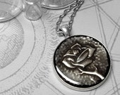 Single Rose : hand embossed metal pendant necklace