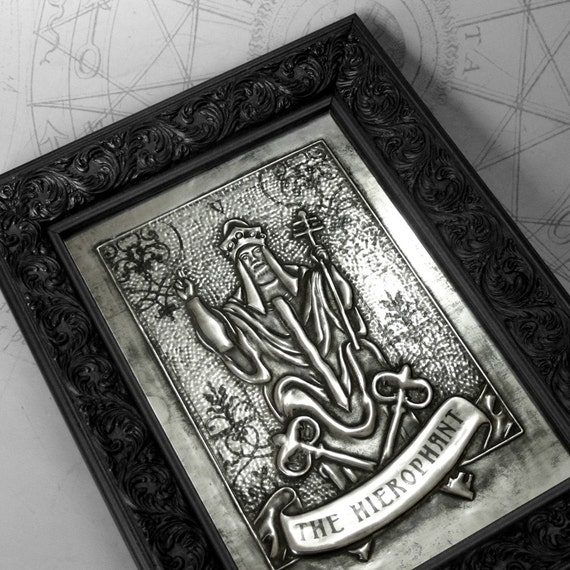 The Hierophant : hand embossed tarot card repoussé metal wall art