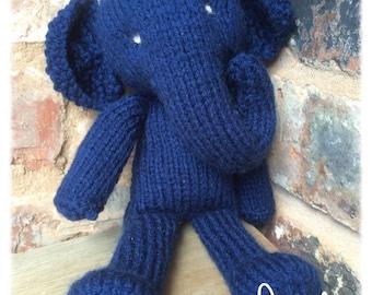 Blue hand knitted elephant toy elephant plushie toy stuffed, knit animal, elephant plushie