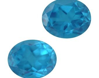 Caribbean Blue Quartz Triplet Loose Gemstones Set of 2 Oval Cut 1A Quality 11x9mm TGW 8.00 cts.