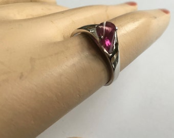 Really Unusual Double Fan Cut Modernist Sterling Silver & Pink Tourmaline Ladies Ring