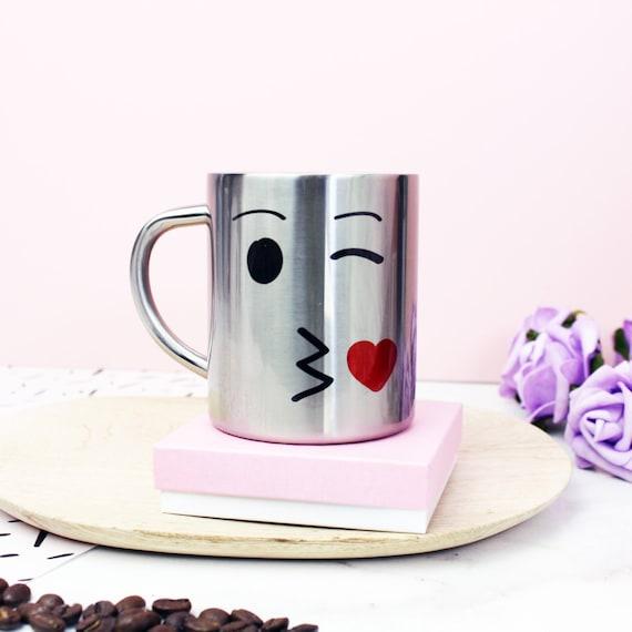 Kissing face emoji anniversary silver mug by glbgraphics