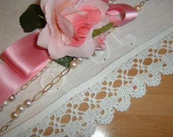White crochet lace edge. Finishing with lace bows. Shabby chic style. Romantic cotton lace. To order.