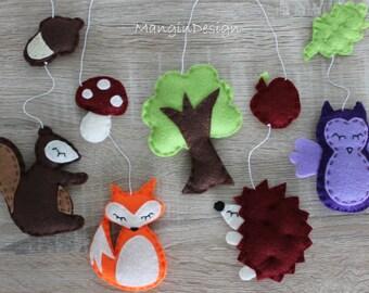 SALE!!! woodland cot mobile decorations felt animal decorations woodland creatures  owl hedgehog fox squirrel baby mobile music box cot arm