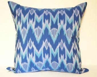 18 x 18 Blue White Ikat Cushion Cover