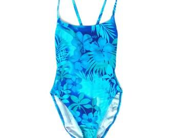 Vintage 90s Hi Cut One Piece Ribbed Swimsuit// Tropical Paradise Floral Bathing Suit