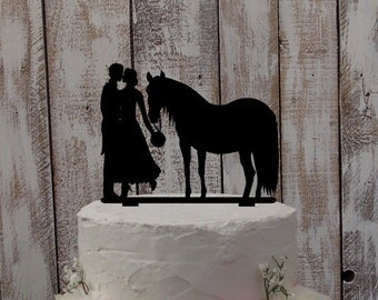 "Wedding Cake Topper ""Bride, Groom, and Horse"""