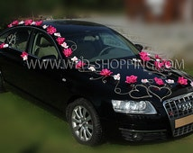 Pink Dahlia and White Orchid - Decoration for Wedding Car Suction Cups and Rattan Hearts