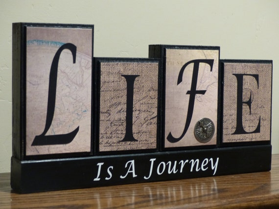 Home Decor Family Block Letters Life is a Journey with