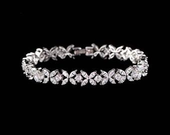 Cubic zirconia bridal bracelet, diamond bracelet, bridesmaid bracelet, wedding jewelry