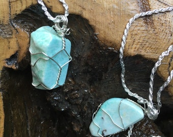 Amazonite Wire Wrapped Pendants on solid 2mm sterling silver braded rope chain