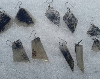Magnetite Included artsie New Hampshire Mica Earrings in matching shapes.