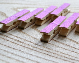PINK glitter pegs 8 pcs, decorated clothes pins, small pegs, wedding pegs, clothes peg, wooden pegs, wedding favors, glitter pegs, glitters