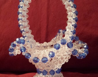 Clear Beaded Basket with Blue Accents