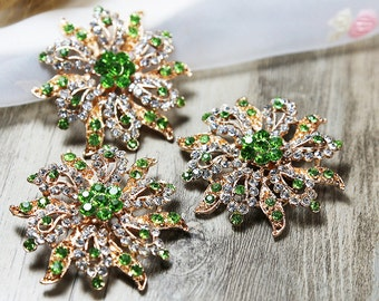 Lot 12 Wholesale Brooches Gold Tone Green Rhinestone Brooch Wedding Brooches Bouquet Brooch Crystal Brooch Bouquet Supplies Party Decoration