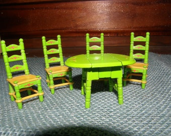 Vintage Miniature Mattel Dropleaf table with 4 matching chairs