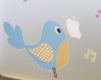 Blue or Pink Bird Laptop Sticker, FabriStick® reusable Fabric Sticker