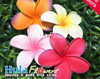 DIY Foam Plumeria 3 inches for Hawaiian Hula and Tahitian Accessories, Wedding Flowers, FP-13-Loose