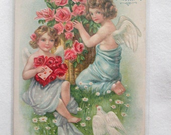Vintage Embossed Postcard Valentine With two Angels