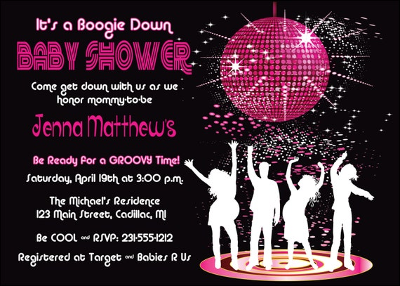 Il 570xn. Disco Theme Baby Shower Invitation   Unique Baby Shower Invitation