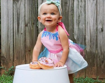 Frosted Donut Dress- donut dress - donut halter top- kids donut outfits- first birthday outfits