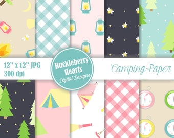 80% OFF SALE Digital Camping Paper, Camping Paper, Digital Scrapbook Paper, Glamping, Printable, Commercial Use