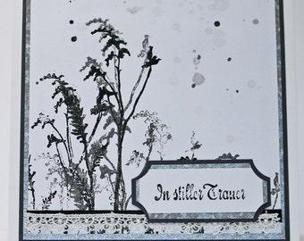 Condolence card - in silent grief, 15 cm x 15 cm