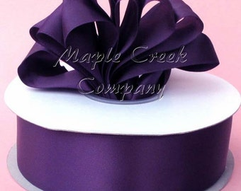 1/4 inch x 100 yards of Plum Double Face Satin Ribbon