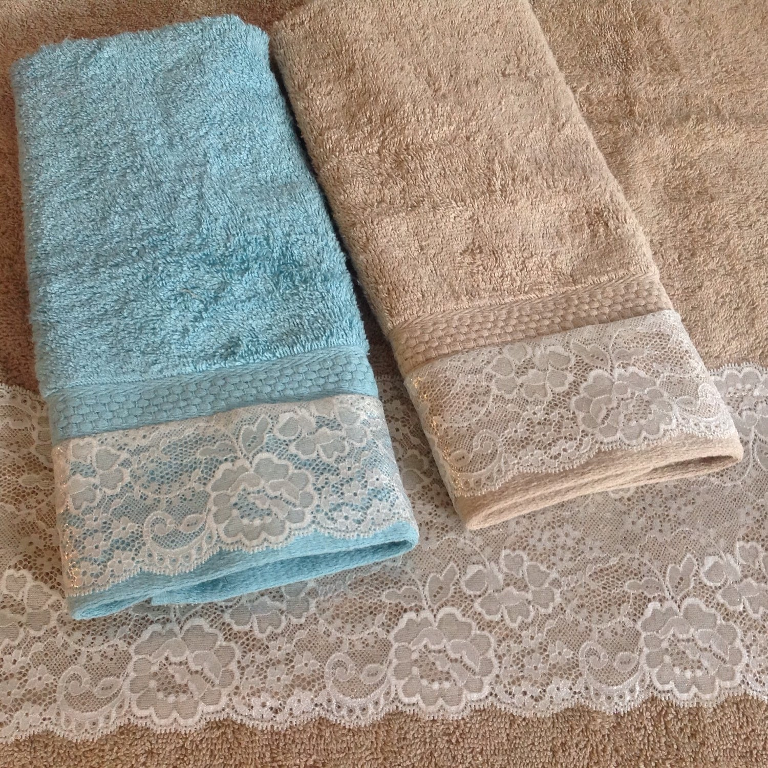Tan brown lace towel set wedding gift decorative by for Decorative bath towels