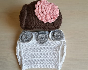 Princess Leia style Crochet baby hat And Diaper Cover From Star Wars - for Halloween / Cosplay / Baby Shower Gift