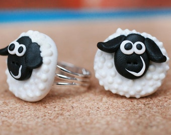 Sheep ring, Handmade ring, Cute animal ring, Polymer clay adjustable ring, Girls ring