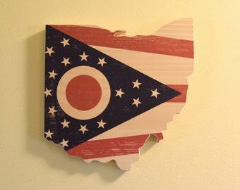 Ohio Flag Wall Art - Ohio Shape