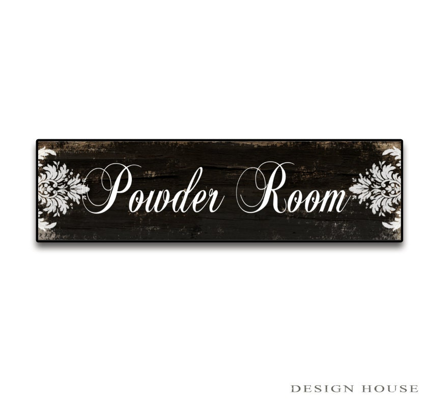 Black and white powder room signs Bathroom signs Restroom ...