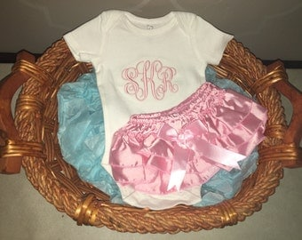 Monogrammed baby girl onesie and pink ruffle bloomers