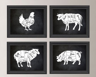 Kitchen Art. Butcher Chart. Butcher Diagram. Butcher Print. Kitchen Wall Art. Kitchen Decor. Kitchen Wall Decor. Farmhouse Art. Canvas NS799