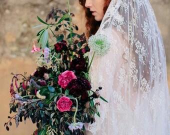 All Over Lace Veil, Lace Mantilla Veil,  Lace Bridal Veil, All Lace Veil, Chantilly Lace Wedding Veil, Unique Veil- PRIMROSE