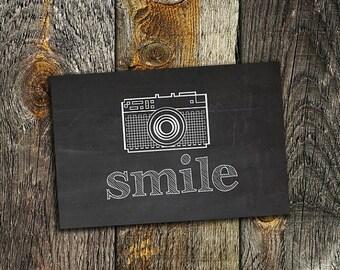 70% OFF THRU 2/13 Smile, Chalkboard Printable Art Print, 4x6 Camera Printable, Instant Download, Fun Retro Inspirational Art, Smile Print,