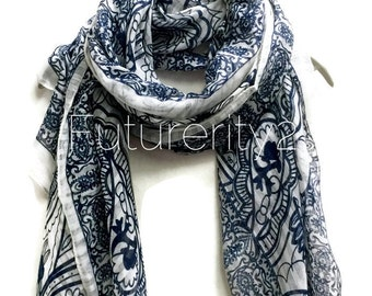 Paisley White Scarf / Spring Summer Scarf / Autumn Scarf / Gift For Her / Women Scarves / Christmas Gifts / Accessories