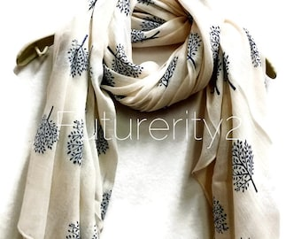 Mulberry Tree White Scarf / Spring Summer Scarves / Gifts For Her / Women Scarves / Accessories / Handmade