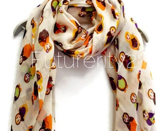 Russian Dolls Off White Scarf Summer Scarf / Spring Scarf / Gift For Her / Womens Scarves / Fashion Accessories