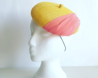 Sale 30% OFF Yellow beret/pillbox hat, sinamay straw handmade decorated with pink chiffon fabric, women accessory, summer hat