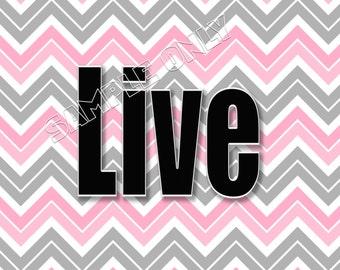 Pink Gray Chevron Zigzag Wall Art Decor Prints Live Laugh Love Dream Believe