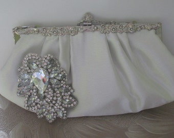 Ivory Bridal Clutch - silver-ivory satin with Swarovski Crystal  brooch wedding clutch ivory satin clutch