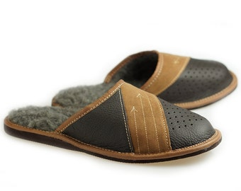 MENS LEATHER slippers, 100% wool slippers moccasins men, Handmade Moccasins, bedroom Bedroom best slippers for men wool slippers