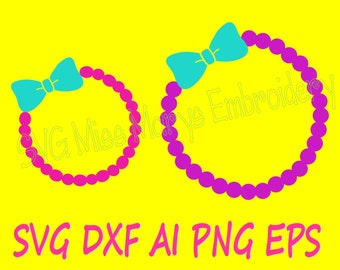 SVG Bow Pearl Monogram Frame Cutting File DXF, AI Commercial Personal Use