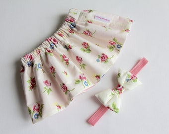 Cream Skirt, Baby Skirt, Girls Skirt, Toddler Skirt, Skirt Set, Floral Skirt, Baby Girl Skirt, Baby Clothes, Girls Clothing, Girls Outfits