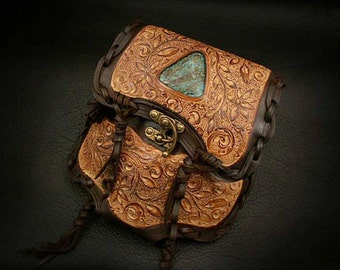 Leather Medicine Bag with Turquoise Stone Waist Bag Brown Carving K06D25